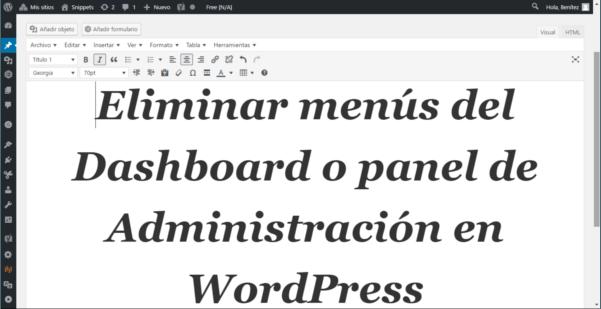 Eliminar menús del Dashboard en WordPress