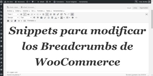 Snippet para modificar los Breadcrumbs de WooCommerce