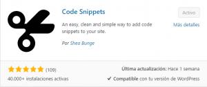 Usar Code Snippets para WordPress